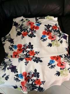 🚚 Brand new plus size peplum white floral top tagged xl