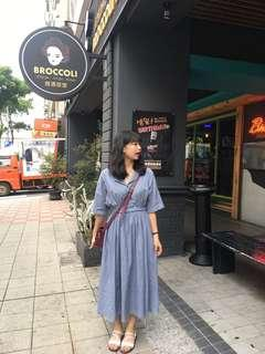 🚚 縮腰氣質藍色長洋裝