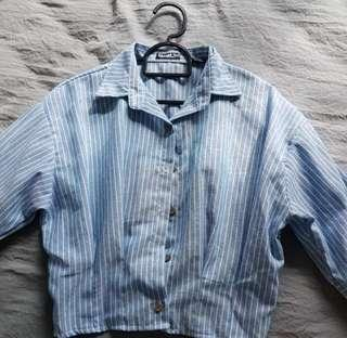 3/4 Sleeves Soft Blue Stripes Top