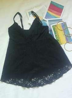 On Sale! MALDITA LACY RUFFLED BLACK TOP