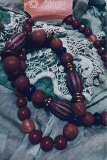 NEW GYPSY BEADS NICKELFREI HALSKETTE📿German Rosewood, Coral, and Ornate Purple Dyed Turned Wooden Beads Matinee Length Necklace