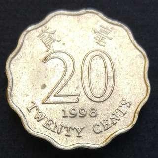 [凸塊錯體] 1998年 香港洋紫荊貳毫(二毫) 硬幣一枚 (02)