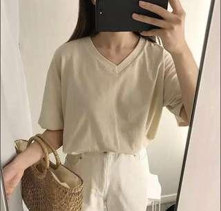 Nude Khaki V Neck Top
