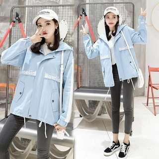 Korean Blue Jacket with Hoodie coat hood cool oversized coat jacket stylish