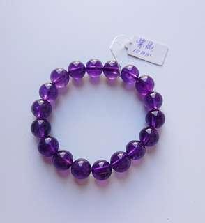 料靚 通透 少紋 烏拉圭紫水晶手串 10mm 同級性價比極高