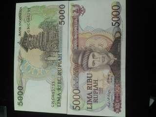 Uang kuno 5000rupiah teuku umar