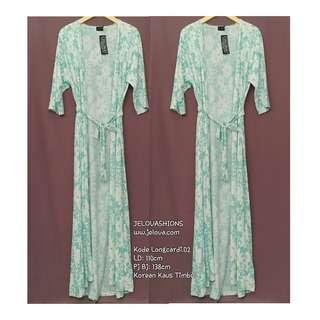 Dress Long Cardigan Greeny Flowers - LONGCARDI-02