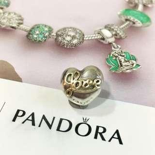 Pandora 14k Two Tone Love with Heart Clip