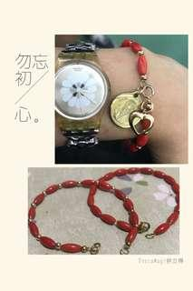 coral gems with st benedict medal and heart charm