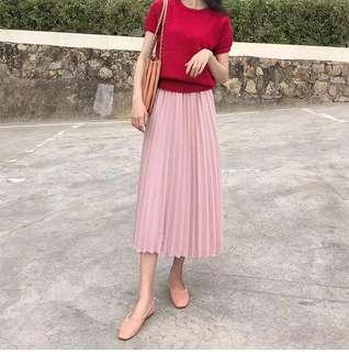 Pleated Midi Skirt in Blush