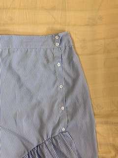 Blue & White Striped Midi Skirt