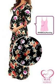 Maternity & nursing wrap maxi dress