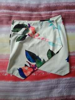 White Abstract Floral Printed Skorts