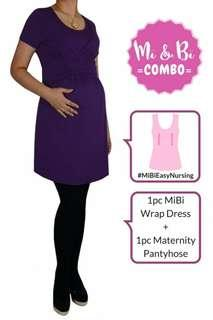 MI & BI MOMENTS COMBO SALE (NURSING WRAP DRESS + MATERNITY PANTYHOSE)