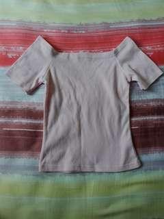 Pastel Pink Off Shoulder Shirt