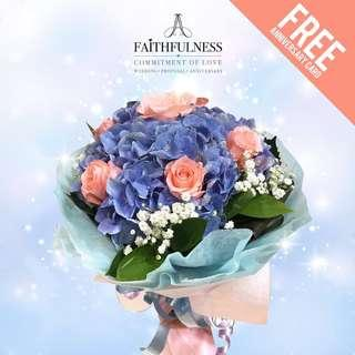 Hydranger with Roses Bouquet blue and pink flower (Birthday Gift / Anniversary Gift / Teacher's Day / Mother's Day) with Free Gift