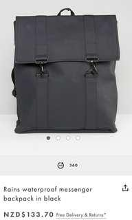 RAINS waterproof messenger backpack (BLACK)