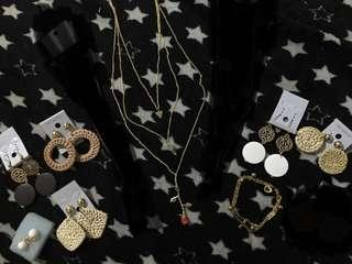 Rattan earrings, rose necklace, etc.