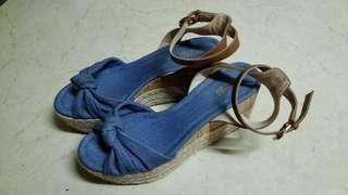 Micheal Kors denim + leather ankle strap platform sandal