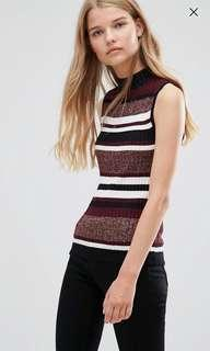 🚚 High Neck Knit (Maroon & Stripe)