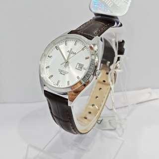 Alba Ladies AH7Q97X1 Silver Coklat Leather Jam Wanita AH7Q97 Original