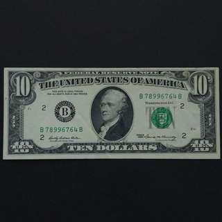 1969年 美國$10元美金紙幣 (B7899)