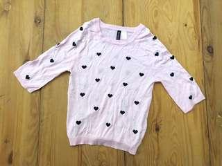 H&M Crop Knitted Pink Heart Sweater