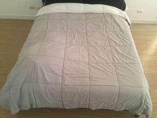 Gray and White Queen Comforter