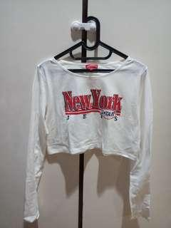 New York Long-Sleeved White Crop T-Shirt PADINI AUTHENTICS