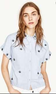Zara embellished light blue shirt top