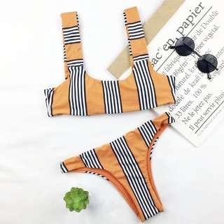 Orange stripe bikinis - new never worn - sz L
