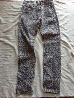 Leopard Print Gray Slim Pants