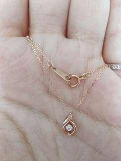 10k玫瑰金頸鏈 項鍊 5份鑽石吊咀 墜飾 diamond pendant gold chain necklace
