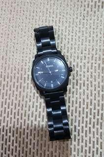 Authentic Fossil Machine Black Dial - Plated Men's Watch