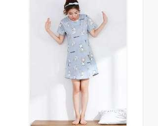 🚚 Korean style adorable dog blue pyjamas home nightwear night dress *Ready sg stock*