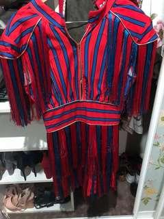 Red and blue stripe dress medium 10 tassels open back