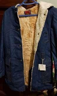 Denim with Fur Hoodie Jacket