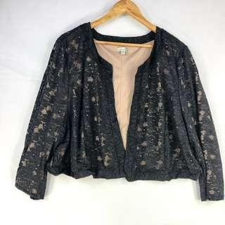 Black Lace Jacket Size 24 Open Cropped Dressy Evening Cocktail Party