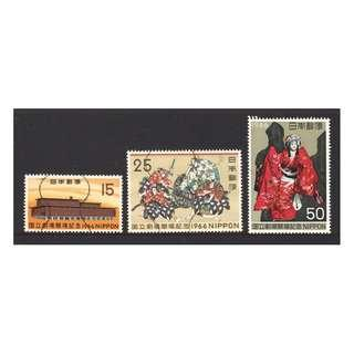 JAPAN 1966 OPENING OF NATIONAL THEATER SC#899-901 COMP. SET OF 3 STAMPS IN FINE USED CONDITION