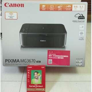 Canon MG3670 printer 連 相紙一盒(禮品無單。未拆盒)