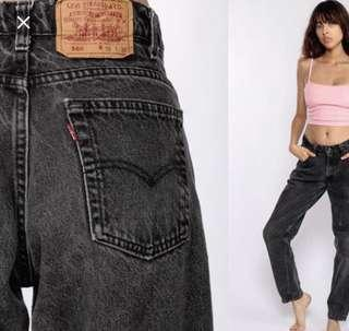 levi mom jeans black