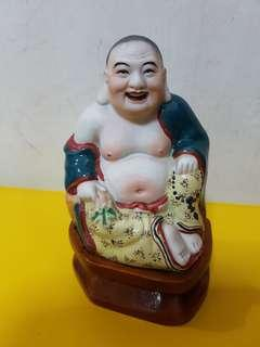 Vintage Porcelain Laughing Buddha (10cm)