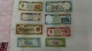 阿富汗塔利班鈔票八張
