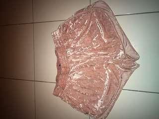 Pink velvet H&M shorts