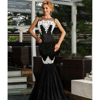 CELLY Plus Size Sequins Appliqués Evening Dress with Mermaid Hem (CSOH R80196-1P)