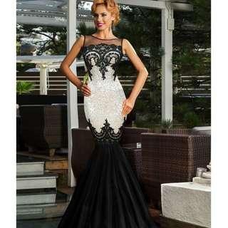 CELLY Plus Size Sequins Appliqués Evening Dress with Mermaid Hem (CSOH R80196-2P)