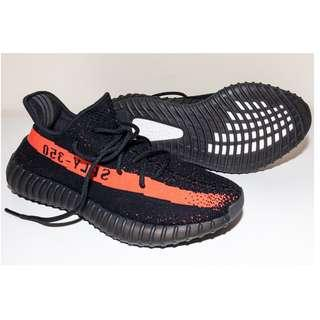 Original Adidas Yeezy Boost 350 V2 (Black / Red Core BY9612)