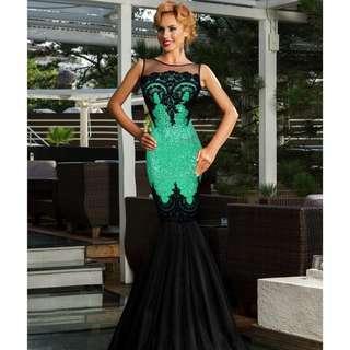 CELLY Plus Size Sequins Appliqués Evening Dress with Mermaid Hem (CSOH R80196-4P)
