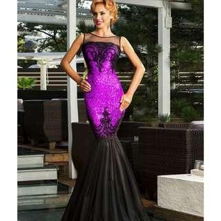 CELLY Plus Size Sequins Appliqués Evening Dress with Mermaid Hem (CSOH R80196-5P)