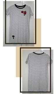 Striped Shirt Dress w/ Patches